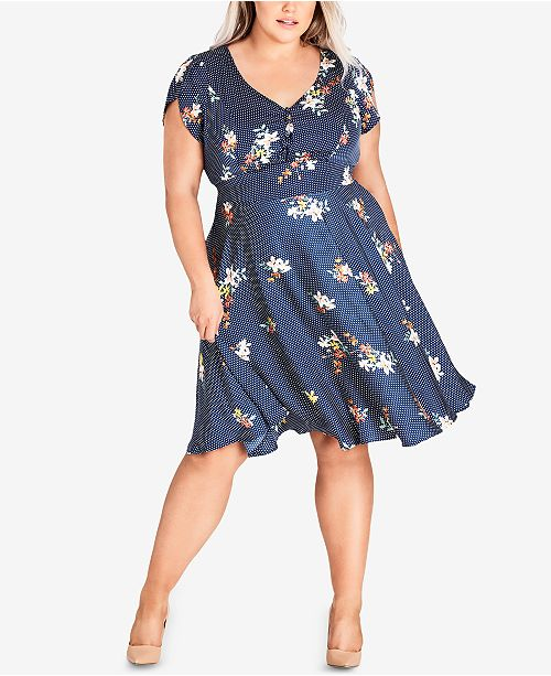 City Chic Trendy Plus Size Cap Sleeve Fit Flare Dress Dresses