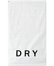 DKNY Chatter Cotton Embroidered Ribbed Hand Towel