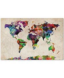 "Michael Tompsett Urban Watercolor World Map 16"" x 24"" Canvas Art Print"