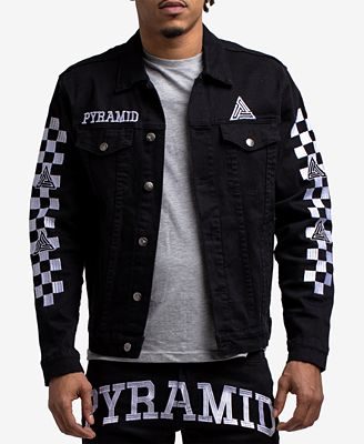 Black Pyramid Men S Checkered Denim Jacket Coats Jackets Men