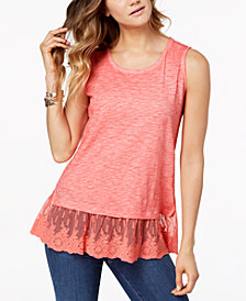 Style & Co Embroidered-Hem Tank Top, Created for Macy's
