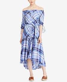Lauren Ralph Lauren Off-The-Shoulder Cotton Dress