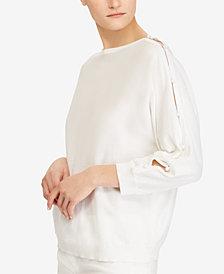 Lauren Ralph Lauren Button-Sleeve Cotton Top