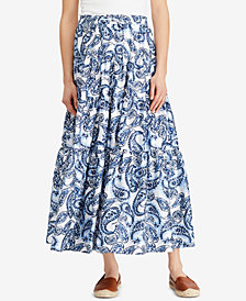 Lauren Ralph Lauren Tiered A-Line Skirt, Created for Macy's