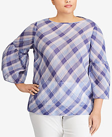 Lauren Ralph Lauren Plus Size Bell-Sleeve Boat Neck Top