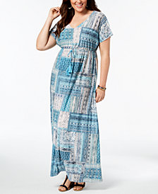 Style & Co Plus Size Patchwork-Print Maxi Dress, Created for Macy's