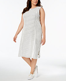 525 America Plus Size Textured-Stripe Midi Dress, Created for Macy's