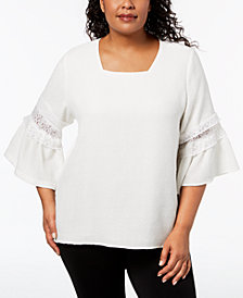 Calvin Klein Plus Size Lace-Detail Top