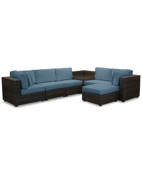 Furniture Viewport Outdoor 7-Pc. Modular Seating Set (2 Corner Units, 3 Armless Units, 1 Corner Table and 1 Ottoman) with Custom Sunbrella® Cushions, Created for Macy's