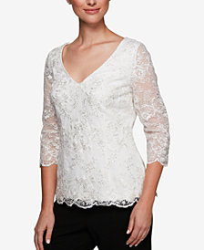 Alex Evenings Sequined & Embroidered Top