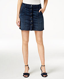 M1858 Rhys Button-Front Denim Skirt