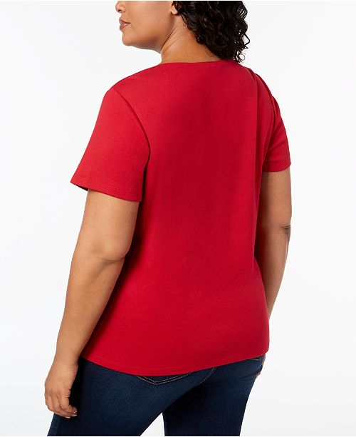 New Karen Macy's Plus Graphic Red Size Scott Amore T Created for Cotton Shirt vv4qar
