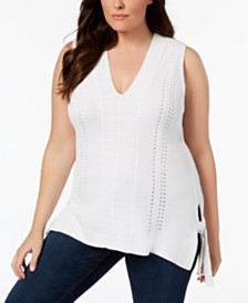 525 America Plus Size Sleeveless Tunic Sweater, Created for Macy's