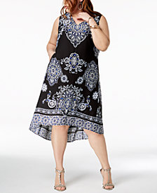 I.N.C. Plus Size High-Low Midi Dress, Created for Macy's