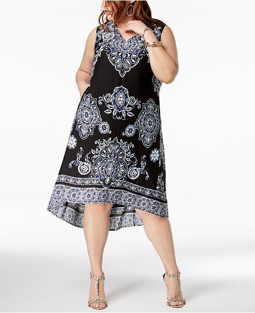 INC International Concepts I.N.C. Plus Size High-Low Midi Dress ...