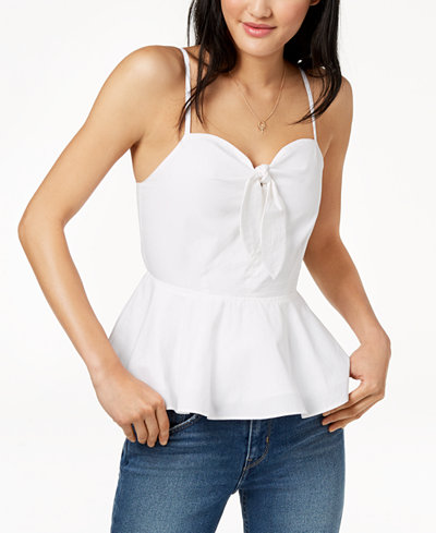 The Edit By Seventeen Juniors' Cotton Peplum Top, Created for Macy's