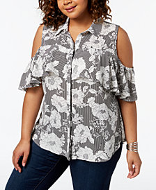 NY Collection Plus Size Cold-Shoulder Ruffle Shirt