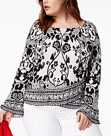I.N.C. Lace-Print Bell-Sleeve Top, Created for Macy's