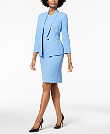 Kasper One-Button Crepe Jacket & Jewel Neck Sheath Dress