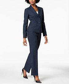 Le Suit Pinstriped Pantsuit, Regular & Petite
