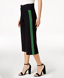 Bar III Racer-Stripe Cropped Pants, Created for Macy's