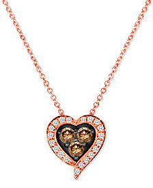 "Le Vian Chocolatier® Diamond Heart 18"" Pendant Necklace (1/3 ct. t.w.) in 14k Rose Gold"