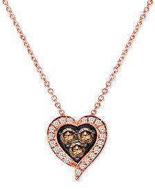 "Le Vian Chocolatier® Diamond Heart 18"" Pendant Necklace (1/3 ct. t.w.) in 14k Rose Gold"
