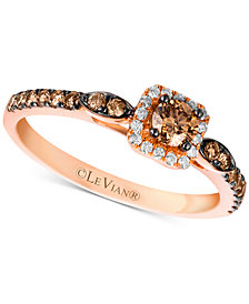 Le Vian Chocolatier® Diamond Square Halo Ring (1/2 ct. t.w.) in 14k Rose Gold