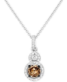 "Le Vian Chocolatier® Diamond Double Halo 18"" Pendant Necklace (5/8 ct. t.w.) in 14k White Gold"