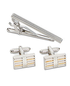 Perry Ellis Men's Golden Beam Cuff Links & Tie Bar Set
