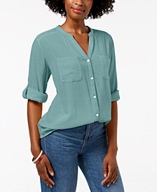 Charter Club Petite Split-Neck Utility Shirt, Created for Macy's