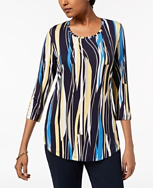 JM Collection Petite Printed 3/4 Sleeve Top, Created for Macy's