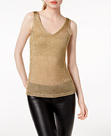 Bar III Metallic Sweater Tank Top, Created for Macy's