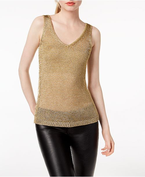 Bar Sweater Gold Metallic Created Top for Macy's III Tank PBqfwr1P