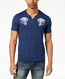 I.N.C. Men's Embroidered Split-Neck T-Shirt, Created for Macy's