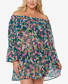 Jessica Simpson Plus Size Printed Off-The-Shoulder Cover-Up