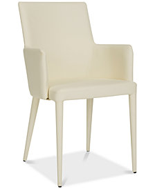 Channing Faux Leather Arm Chair, Quick Ship