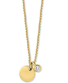 "EFFY® Diamond Bezel & Disc 18"" Pendant Necklace (1/10 ct. t.w.) in 14k Gold"