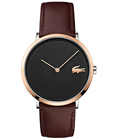 Lacoste Men's Moon Ultra Slim Brown Leather Strap Watch 40mm