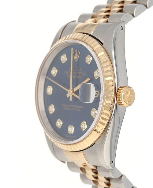 Pre Owned Rolex Men S Swiss Automatic Datejust Jubilee Diamond 1 8 Ct T W 18k Gold Stainless Steel Bracelet Watch 36mm Watches Jewelry