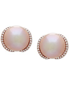 Pink Cultured Freshwater Pearl (12 mm) & Diamond (1/4 ct. t.w.) Stud Earrings in 14k Rose Gold