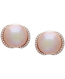 Honora Pink Cultured Freshwater Pearl (12 mm) & Diamond (1/4 ct. t.w.) Stud Earrings in 14k Rose Gold
