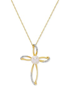 "Cultured Freshwater Pearl (6 mm) & Diamond Accent Cross 18"" Pendant Necklace in 14k Gold"
