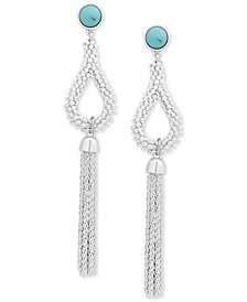 Lucky Brand Silver-Tone Stone Fringe Drop Earrings