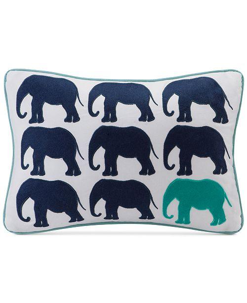 "HipStyle Lucky One 14"" x 20"" Elephant Appliqué Oblong Decorative Pillow"