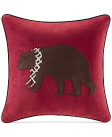 "Madison Park Faux-Suede Bear Appliqué 20"" Square Decorative Pillow"