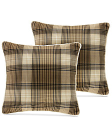 "Woolrich Lumberjack Reversible Plaid Softspun to Berber 18"" Square Pair of Decorative Pillows"