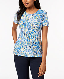 JM Collection Petite Printed Embellished Jacquard Top, Created for Macy's