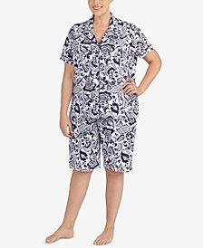 Lauren Ralph Lauren Classic Knits Plus Size Printed Bermuda Pajama Set