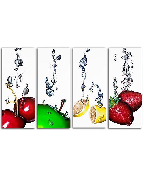 "Trademark Global Roderick Stevens Splash II 4-Pc. Canvas Wall Art Set, 32"" x 12"""